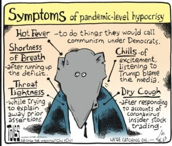 Political Cartoon U.S. GOP symptom diagnosis pandemic hypocrisy fever throat tightness