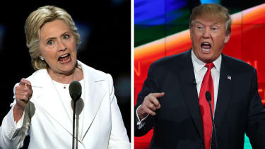 Clinton speaks at her convention, Trump at a primary debate.