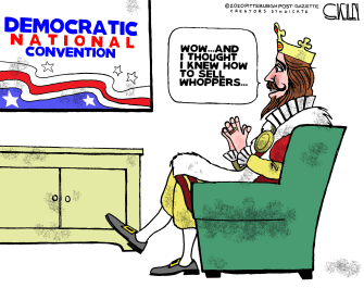 Political Cartoon U.S. Burger King DNC