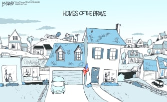 Editorial Cartoon U.S. Homes of the Brave self-isolation saves lives