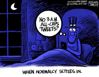 Political Cartoon U.S. trump tweets biden