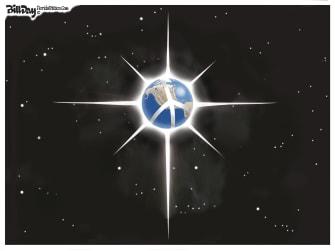 Editorial Cartoon U.S. Christmas Happy Holidays