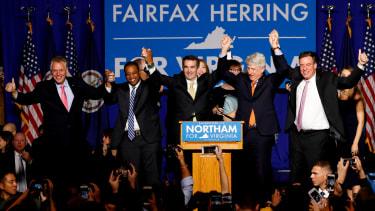Ralph Northam celebrates his election win in Virginia