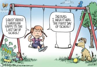 Editorial Cartoon U.S. coronavirus school year summer