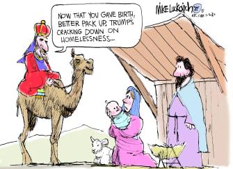 Political Cartoon U.S. Nativity Scene Homeless Crisis Trump