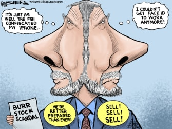 Political Cartoon U.S. burr stock scandal coronavirus