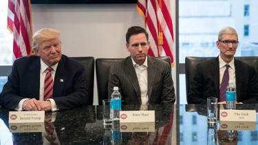 President Trump met with tech CEOs, including Peter Thiel and Tim Cook, earlier this year as well.