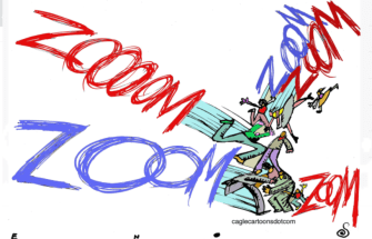 Editorial Cartoon U.S. Zooming together social distance work from home