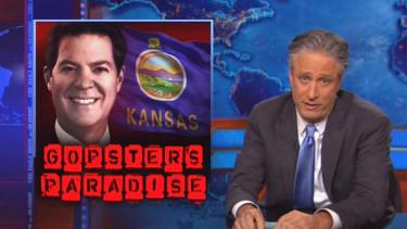 Jon Stewart gives Kansas a taste of its own medicine