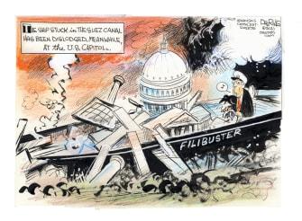 Political Cartoon U.S. mitch mcconnell filibuster suez canal ship