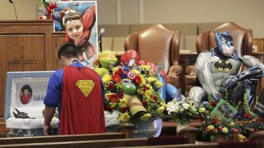 Jacob Hall's superhero-themed funeral.