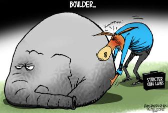 Political Cartoon U.S. boulder gop democrats mass shooting