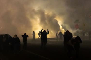 Tear gas in the air during a protest in Brooklyn Center, Minnesota.