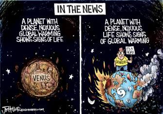 Editorial Cartoon U.S. Venus Earth climate change MAGA