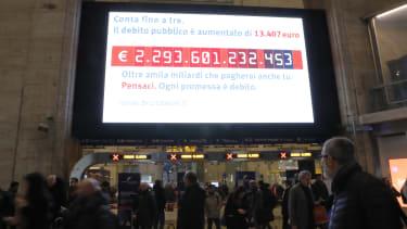 A debt clock in Italy.