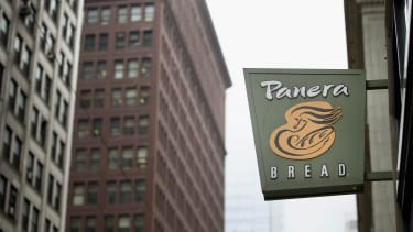 The Panera Bread logo hangs in Chicago