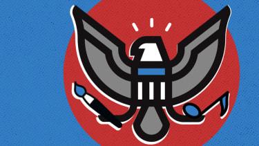 An artistic eagle crest.