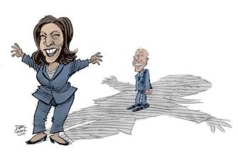 Political Cartoon U.S. Biden Harris 2020 shadow