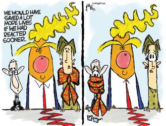 Political Cartoon U.S. Trump Fauci Birx failed to act sooner cost lives