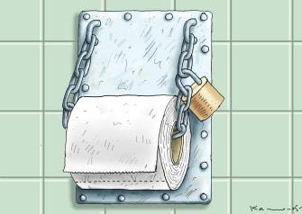 Editorial Cartoon U.S. toilet paper lockdown panic bulk shopping