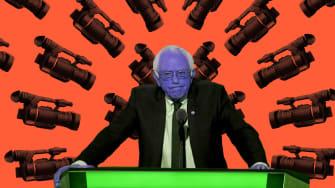 Sen. Bernie Sanders surrounded by cameras.