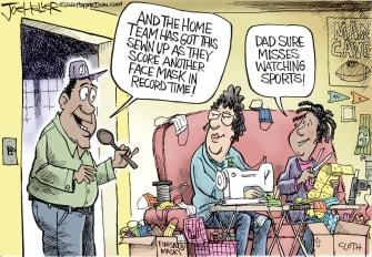 Editorial Cartoon U.S. Coronavirus COVID-19 Stay-At-Home face masks sewing sports