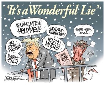 Political Cartoon U.S. Trump Its A Wonderful Life Impeachment Senate Angel
