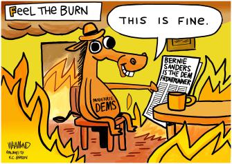 Political Cartoon U.S. Bernie Sanders DNC 2020 election presidential primaries moderates meme