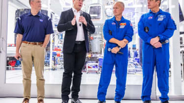 NASA CEO Jim Bridenstine, Elon Musk, and astronauts Bob Behnken and Doug Hurley