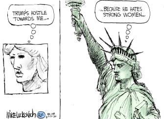Political Cartoon U.S. statue of liberty trump women