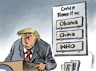 Political Cartoon U.S. Trump coronavirus Obama who China blame