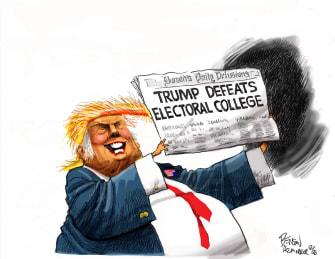 Political Cartoon U.S. Trump Biden electoral college Truman Defeats Dewey