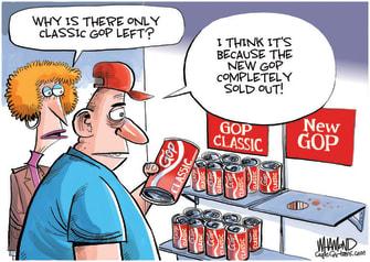 Political Cartoon U.S. gop trump new coke
