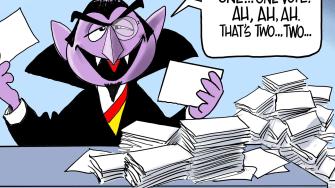 Political Cartoon U.S. The Count Sesame Street Iowa Caucus democratic primaries 2020 election recount