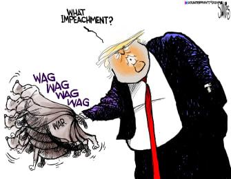 olitical Cartoon U.S. Trump Soleimani Wag The Dog Impeachment