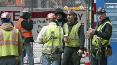 Construction workers take a cigarette break: Construction, food service, and mining are the three industries with the highest smoking rates in America, according to a CDC study.