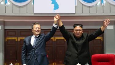 Kim Jong-Un and Moon Jae In.