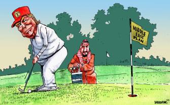 Political Cartoon U.S. Trump golfing Middle East