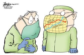 Editorial Cartoon World coronavirus China xenophobia rising mask