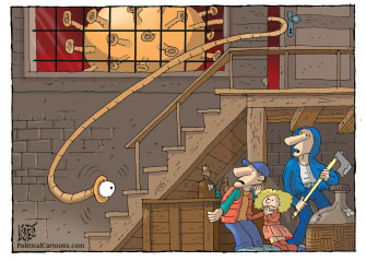 Editorial Cartoon U.S. Coronavirus War of the Worlds Orson Wells quarantine contagious hiding