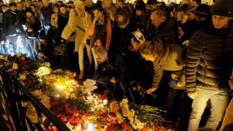 A vigil in Saint Petersburg for the victims of the Metrojet crash.
