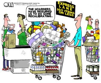 Political Cartoon U.S. grocery 160 or less express line coronavirus