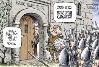 Political Cartoon U.S. Trump William Barr DOJ sanctuary cities castles medieval armies