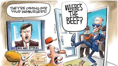 Political Cartoon U.S. biden fox news tucker carlson beef