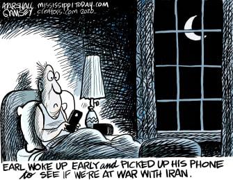 Editorial Cartoon U.S. War With Iran Wake Up Phone Alert