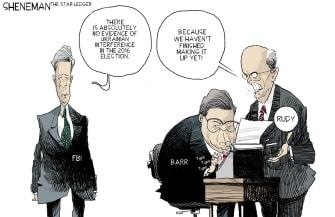 Political Cartoon U.S. William Barr Giuliani Ukraine