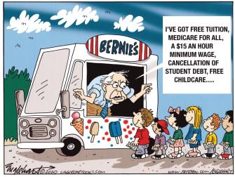 Political Cartoon U.S. Bernie Sanders Democratic Party social democrats medicare for all student debt cancellation childcare