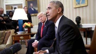 Barack Obama with Donald Trump.