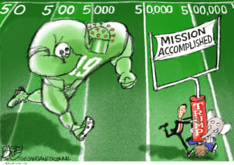 Political Cartoon U.S. coronavirus Trump Kushner moving goalposts GOP