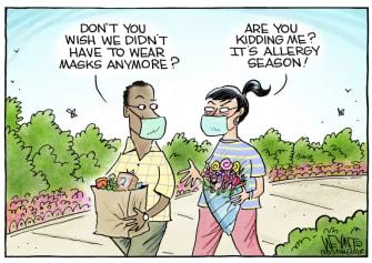 Editorial Cartoon U.S. covid masks allergies